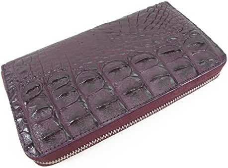PELGIO Genuine Crocodile Alligator Backbone Skin Zip Around Checkbook Long Wallet